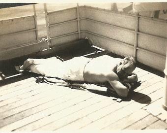 "Vintage Snapshot ""Catching Some Rays"" Shirtless Man Sunbathing Tanning Small Mini-Photo Found Vernacular Photo"