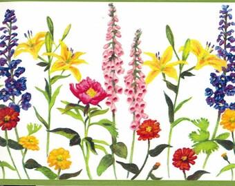 Colorful Gardened Flowers Wallpaper Border 12571 KBE