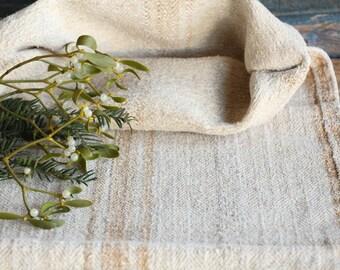 F 72: antique handloomed LIGHT HAZELNUT rustic; stairrunner, grainsack for pillows cushions runners 39.37