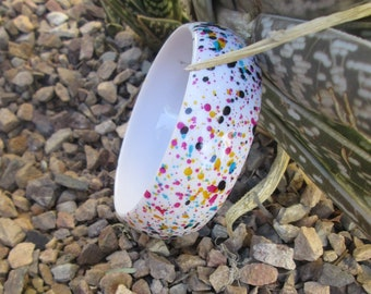 Confetti Lucite Bangle Bracelet White Speckle 1960's Vintage Jewelry Gift Idea for Her
