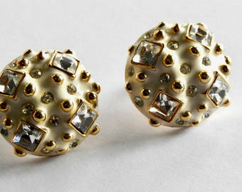 Graft  1980's Gold White and Square Clear Rhinestone Earrings