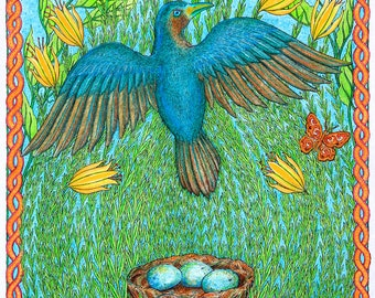 Satin Bowerbird - Female, Hand Made Card