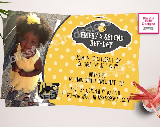 BEE BIRTHDAY INVITATION, Bee Birthday Invitation, Bee-day Photo Invitation, Bee-Day, Bee-day Invitation, Photo Invitation, Honeybee, Bee