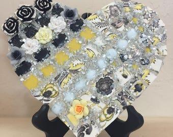 Mosaic Heart Glitter Garden