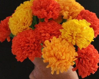 Day of the dead 12 marigolds crepe paper flowers dia de los day of the dead 12 marigolds crepe paper flowers dia de los muertos yellow mightylinksfo Choice Image