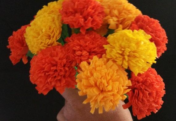 Day of the dead 12 marigolds crepe paper flowers dia de los mightylinksfo