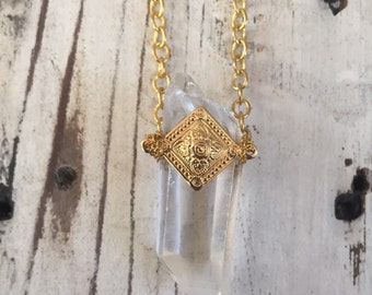 Brass Filligree Crystal Shard Necklace OOAK