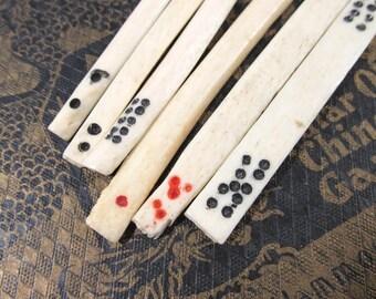 Mah Jongg Bone Counters VINTAGE Mah Jong Bone Counter Sticks Six (6) Ox Bone Counters Mahjong Vintage Art Supplies Game Piece Destash (T290)