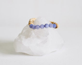 Angelite Beaded Bracelet + Natural Coconut Shell / KO-MALA Yoga Bracelet / Blue Anhydrite Healing Crystals /Soothing Stone Bracelet / Pastel