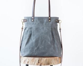 Waxed Canvas Charlie bag, Charcoal Gray waxed canvas bag, canvas tote, Crossbody bag, shoulder bag, carryall, convertible bag, pleated tote,