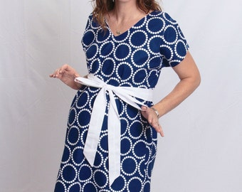 LINED Jack Maternity Hospital Gown - Navy Pearl Bracelets  - Choose Your Lining Color- by Mommy Moxie