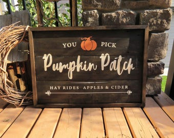You Pick Pumpkin Patch Rustic Wood Plank Sign - Rustic, Cabin, Country Cottage, Lakehouse, Farmhouse, Vintage, Autumn, Fall
