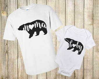 Mama Bear Shirt Set - Mommy and Me Shirts -Mommy and Me Outfits - Mom and Baby Shirts - Baby Boy- Baby Girl -Family Shirts-Baby Bear Shirt