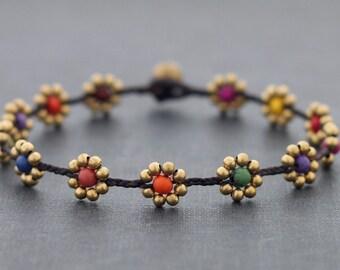 Woven Beaded Anklet Candy Daisy Brass Folk Anklets, Woven Beaded Braided Anklets, Brass Beads Ankle Bracelets