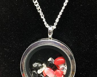 Genuine Onyx, Clear Quartz & Bamboo Coral Floating Pendant Necklace