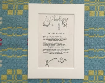 Children's Poem and Illustration - In the Fashion - by A A Milne and Ernest H Shepard - Rescued from a 1940s Children's Book