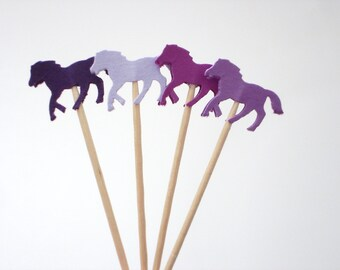 24 Mixed Purple Horse Party Picks, Cupcake Toppers, Food Picks, Toothpicks, Drink Picks - No740