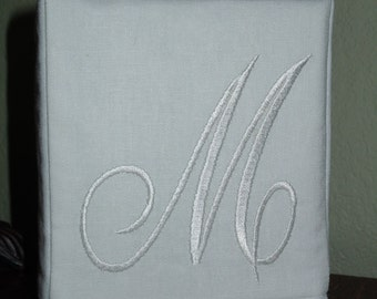 "Monogrammed Essex White Linen Tissue Box Cover -  Darling Aurora Monogram ""M""  Made To Order"