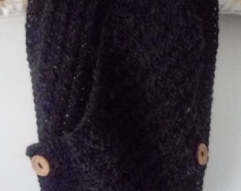 Handknitted charcoal grey cowl neckwarmer scarf with buttons - nice gift - FREE UK P&P