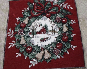 Christmas Holiday Winter Wreath Tapestry Panel