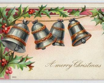 Vintage Merry Christmas Postcard, bells, holly, berries