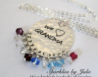 The ORIGINAL We Heart GRANDMA Necklace - Hand stamped sterling silver with custom Swarovski birthstones