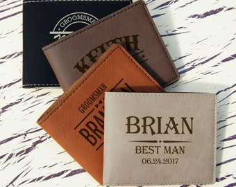 Personalized Wallet Custom Engraved with Choice of Monogram Design Options & Font from Our Selection (Each)