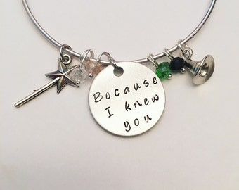 Because I Knew You Elphaba Glinda Wicked Witch Idina Menzel Wicked Wizard of Oz Inspired Stamped Adjustable Bangle Charm Bracelet