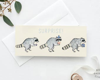 Greeting Card Raccoons Surprise! // Blank card, Funny card, Birthday card, Anniversary, Large card for gift certificate, Card for money