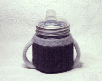 Square Canning Jar Sippy cup with cozy