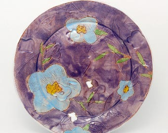 Purple Floral themed dinner plate - earthenware, handbuilt food safe plate made by Kaitlyn Brennan/Brennan Pottery
