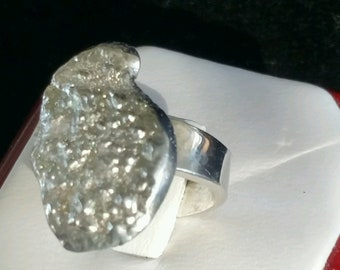 Sterling Silver Ring with cast design