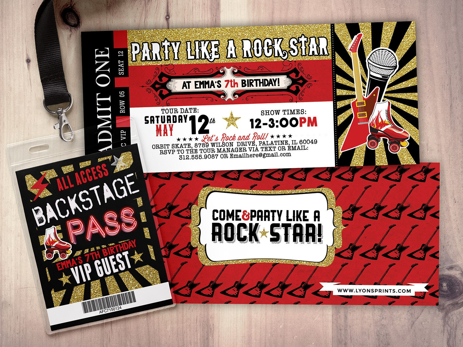 Roller-skate, Rock star, concert ticket birthday party invitation ...