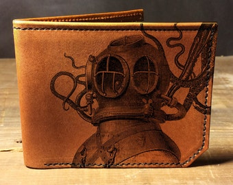 wallet - leather wallet - mens wallet - Octopus attacks diver wallet - 018