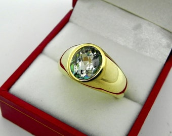 AAA Silver White Topaz Checkerboard cut   10x8mm  3.37 Carats   in  Heavy 14K Yellow gold MAN'S ring 18 grams. 2587