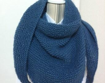 Trendy blue denim, lightweight shawl