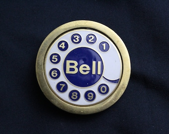 Vintage 70'S 80's BELL rotary telephone Belt Buckle