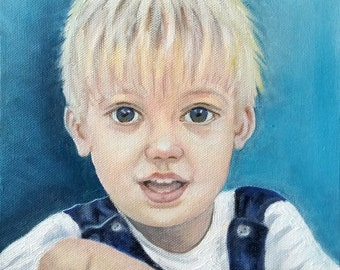 Original Custom Portrait Painting from your photo,oil painting on canvas, child portraits, eg little boy in dungarees, family gift