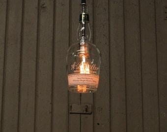 Old Weller Bottle Pendant Light - Upcycled Industrial Glass Ceiling Light - Handmade Bourbon Bottle Light Fixture, Recycled Lighting