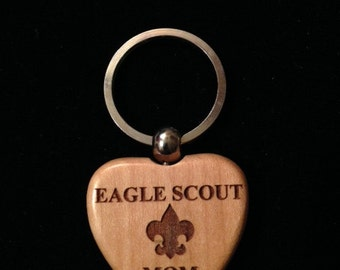 Scout Eagle Maple Heart Keychain - Laser Engraved