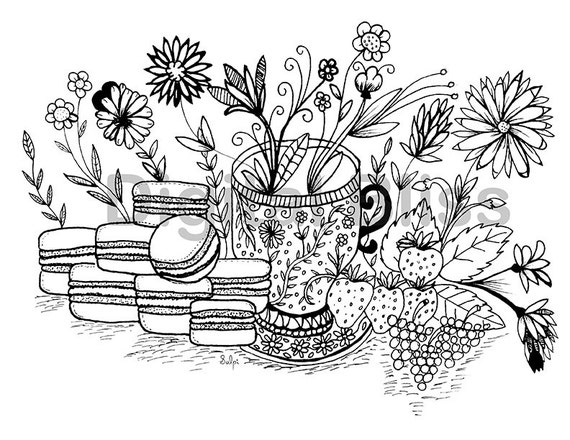 INSTANT DOWNLOAD Adult Coloring Page Design Colouring Page