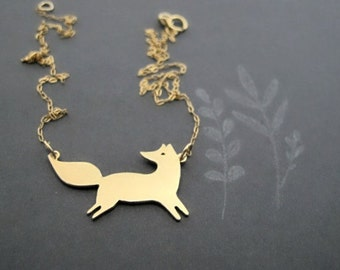 Fox Necklace - Fox Jewelry - Animal Necklace - Gold Necklace - Silver Necklace - Nature Necklace - Woodland Necklace -Gold - Sterling Silver