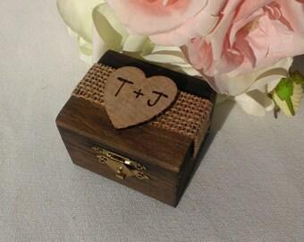 rustic wedding ring box, burlap wedding wooden ring box