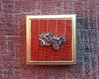 Vintage Metal & Leather Pill Box with Automobile
