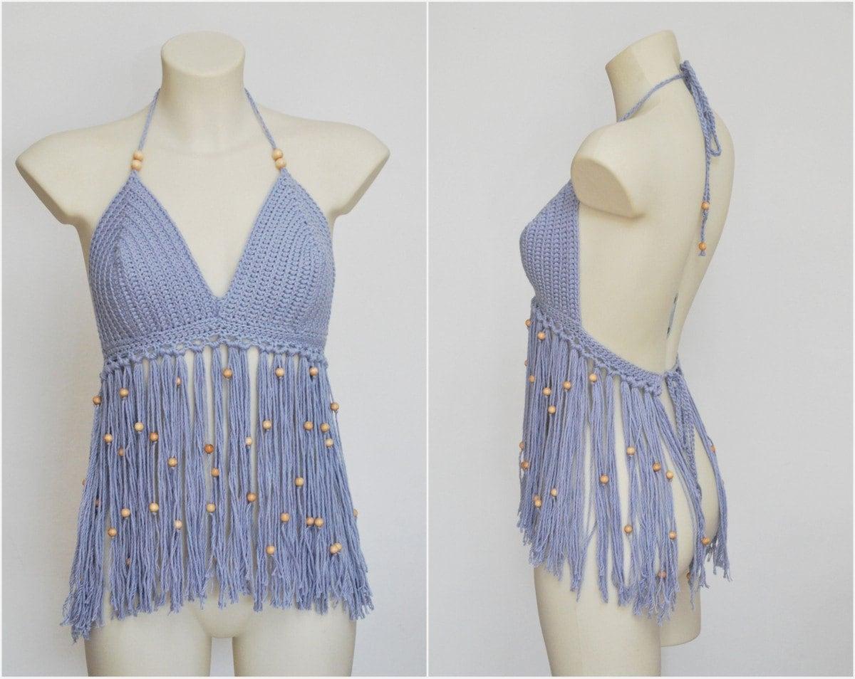 Long fringe festival crochet halter top bra with woodden beads