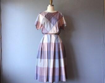 vintage 80s dress / plaid pleated secretary dress / boatneck dress d30