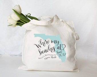 Where My Beaches At Bachelorette Tote Bag, Personalized Bachelorette Tote Bag, Nautical Tote Bag, Bachelorette Favor, Tote Bag, Any State!