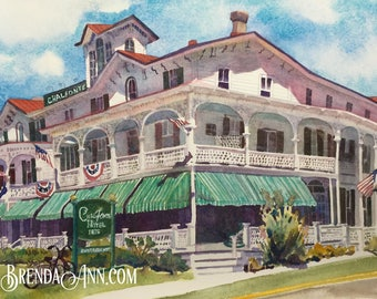 Cape May The Chalfonte Hotel -Cape May New Jersey - Hand Signed Archival Watercolor Print Wall Art by Brenda Ann