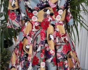 Hana 1950s cross over bodice dress with flared skirt in Japanese print