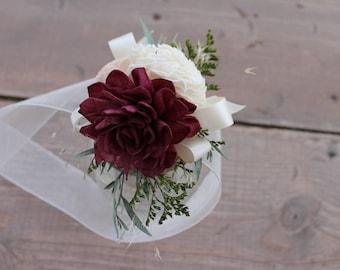 Dahlia Sola Flower Corsage, Wine & Blush Pink Wrist Corsage, Eucalyptus Flower Corsage, Organic Flower Corsage, Ivory Corsage, Sola Corsage